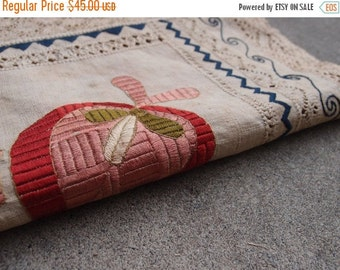 SALE SALE SALE Vintage Textile Embroidered Linen Table Cloth Runner Centerpiece Wall Hanging Art Lace Home Decor Antique Tribal Ethnic Nativ
