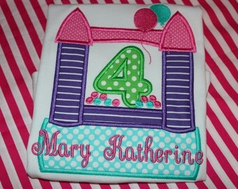 Bouncy house 4th birthday tshirt- boy or girl- any number you choose