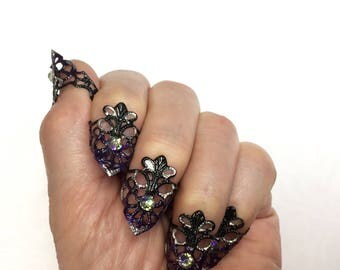 Black, Silver, Midnight Purple Nail Armor with AB Swarovski Crystals/set of 5