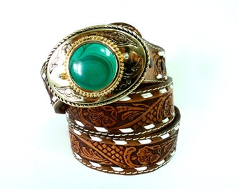 Vintage Leather belt Malachite buckle Western Hand Tooled Brown Gold Engraved belt Size 40