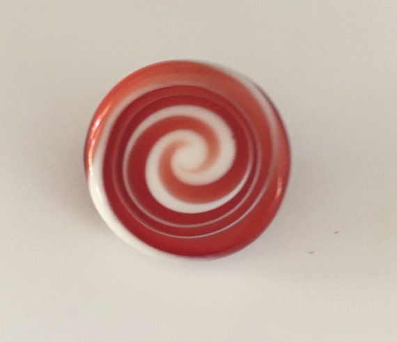 Lampwork Glass Button with Self Shank - White/Red  Swirls