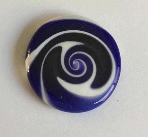 Flat Glass Cabochon - Dark Blue/White Swirls Handmade by Greg Hanson