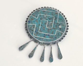 Vintage .925 Silver and Turquoise Brooch-Pendant Combo -- Southwest