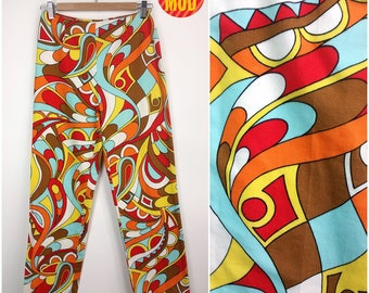 Groovy Vintage 90s 00s Red, Blue, Yellow, Brown and White Psychedelic Paisley Pants!