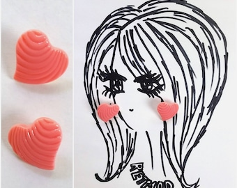 Adorable Vintage 90s 80s New Wave Pastel Coral Pink Grooved Earrings for Pierced Ears