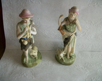 Antique Lenwile Ardalt  Japan TWO  Handpainted  Bisque Figurines Sheppard  Boy +girl