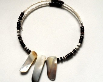 New! - choker, beaded, modern, wrap style mother of pearl choker necklace