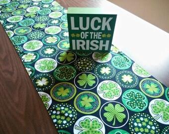Shamrocks Table Runner St. Patrick's Day Decor Irish Green Lime Green White Black Circles Polka Dots Reversible