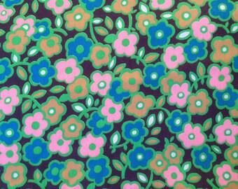 "Vintage 60s Cotton Fabric Flowers Floral Mod 1960s 4 yards 44"" wide"