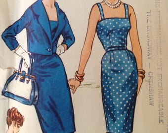 Vintage Wiggle Dress Pattern 50s 60s 36 bust Simplicity 4967 Rockabilly with Jacket