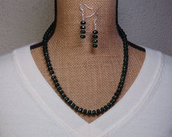 Natural Dark Green Faceted Roundel Emerald, 925 Silver Necklace and Earrings
