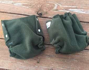 Fleece Diaper Cover in Dusty Forest Green; SET OF 2