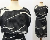 1980s Dress Boatneck Day Black White Abstract Semi Sheer Fitted Waist Button Shoulder Cap Sleeve Straight Skirt Midi Boho Vintage 80s Medium