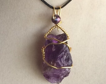 Wire Wrapped Natural Amethyst Tumbled Stone Pendant