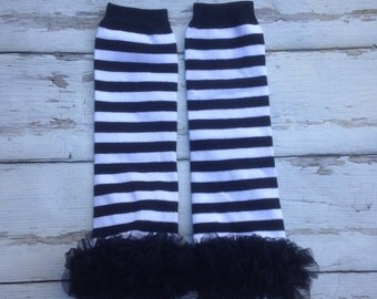 Black and white  striped leg warmers chiffon ruffles leg warmers tutu legs