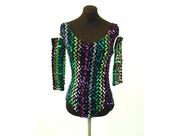 Vintage dance costume sequin leotard with gauntlets multi colored stretchy knit Size S
