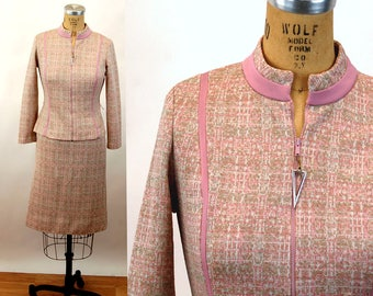 1960s skirt suit mauve pink Mid century modern space age zip jacket fitted suit Size S/M