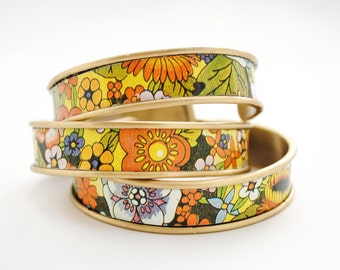 Tea Tin Cuff Bracelet - 70's Flower Mix - Adjustable Bracelet - Upcycled Jewelry, Repurposed Jewelry