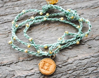 Boho Crochet Wrap Bracelet - Leather Monogrammed Charm - Personalized Bracelet - Hippie Chic Bohemian