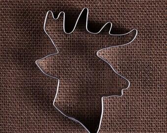 Reindeer Cookie Cutter, Deer with Antlers Cookie Cutter, Christmas Cookie Cutters, Animal Cookie Cutters, Sugar Cookie Cutters