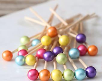 Bright Rainbow Lollipop Sticks, Rainbow Cake Pops Sticks, Marshmallow Pop Sticks, Rock Candy Sticks, Wooden Lollipop Sticks, Rainbow Party