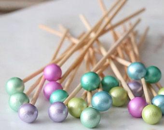 Mermaid Party Lollipop Sticks, Cake Pop Sticks, Rock Candy Sticks, Marshmallow Pop Stick, Wood Lollipop Sticks, Mermaid Cake Pop Sticks