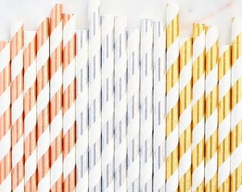 Silver & Gold Foil Paper Straws, Rose Gold Paper Straws , Silver Paper Straws, Gold Paper Straws, Silver and Gold Cake Pop Sticks, Metallics