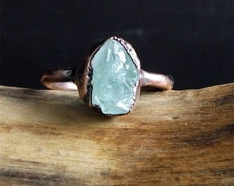Aquamarine Raw Crystal Small Stone Ring Midwest Alchemy Size 8.5 Natural Jewelry Copper Aquamarine March Birthstone
