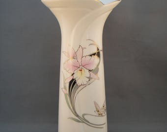 "Fine China Japan White Porcelain Vase w/Pink Iris & Butterfly Gold Trim- 10.5"""