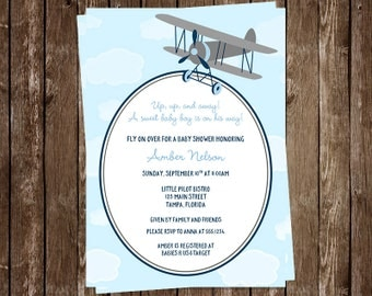 Airplane Baby Shower Invitations, Baby Boy, Blue, Gray, Flying, Clouds, Set of 10 Printed Cards, FREE Shipping, UUABL, Up Up and Away, Grey