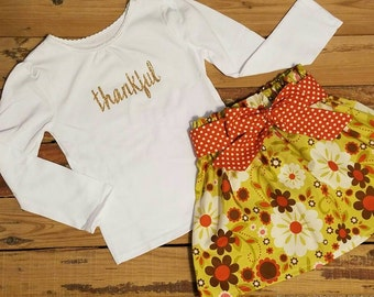 Thanksgiving Outfit- Thankful-Baby Toddler Girls Skirt Set- Gold -Vintage Green Floral High Waist Skirt and Sash- PRIORITY Shipping Included