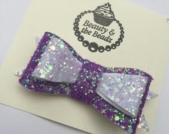Pretty girls purple and white chunky glitter doible hair bow crocodile clip
