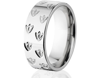 Duck Track Band, Titanium Ring, Animal Tracks, Wedding Rings Bands: 8F-DuckTrackRotate