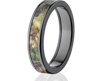 New 5MM Flat Branded Mossy Oak -New Break Up, Black Zirconium Ring, New Break Up Pattern: 5F-MO-NBU