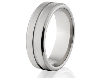 New 7mm Wide Comfort Fit Titanium Ring - 7FRC1G-B