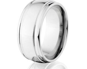 Cobalt Wedding Band - Cobalt Ring Mens Wedding Band 10mm Wide Mens Ring Free Sizing 4-17 : COB-10HR2WG-P