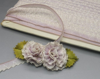 Small Pink Double Baby Rose Ribbon Flower Millinery Applique