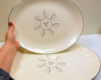 """Set Of Servon Mid Century Carousel Atomic Mod Serving Platters 13"""" and 15"""""""