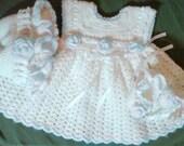 CUSTOM ORDER CATHLEEN - Crocheted SunDress Bonnet Booties Hat Set