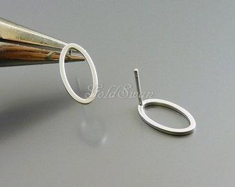 4 small 13mm oval stud earrings, geometric shape oval post earrings, earring findings 1069-MR-13 (13mm, 4 pcs)