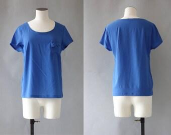 Blue silk blouse   1990's by cubevintage   medium