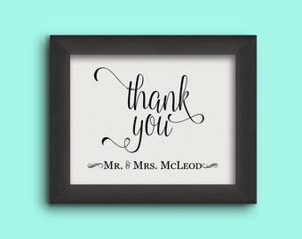 Wedding Thank You Sign -  Mr & Mrs - Personalized Bride and Groom Names  (Frame NOT included)