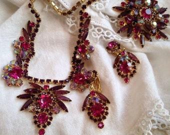 Juliana Magenta Purple Rhinestone Necklace Brooch and Earrings