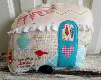 Vintage Happy Camper Shaped accent pillow. Glamping, photo prop, wedding photo