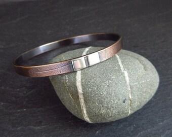 Bronze bangle with sterling silver squares, leaf vein bracelet, bronze wedding anniversary, 8th anniversary, bangle for men, ladies bangle