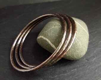 Bronze bangles, hammered bangle bracelets, ladies bangles, 8th wedding anniversary gift, bronze anniversary gift, women's bangles, metalwork