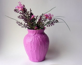 Radiant Orchid Vase /  purple flower vase / orchid purple / concrete and glass vase