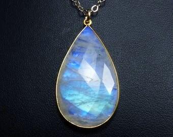 LARGE Faceted Rainbow Moonstone Necklace, LARGE Rainbow Moonstone Pendant, Cobalt Blue, Cornflower Blue, Turquoise, & Aqua Fire, Gold Bezel