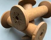 SaleToday Blonde Wooden Bobbins 3 Inch Wood Thread Spools Set of 12 Primitive Rustic Cabin Decor
