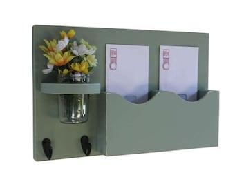 Mail Organizer - Mail Holder - Letter Holder - Double Slots - Key Hooks - Jar Vase - Organizer - Mail Holder